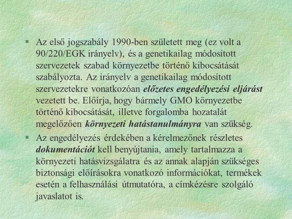 §Az első jogszabály 1990-ben született meg (ez volt a 90/220/EGK irányelv), és a genetikailag módosított szervezetek szabad környezetbe történő kibocs