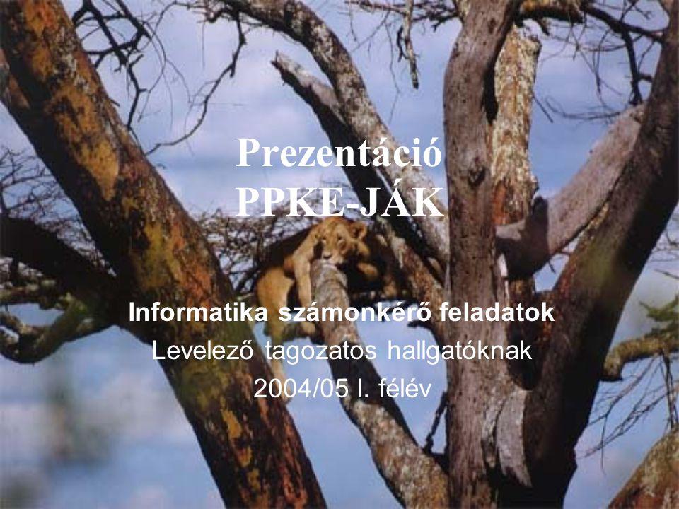 Prezentáció PPKE-JÁK Informatika számonkérő feladatok Levelező tagozatos hallgatóknak 2004/05 I.