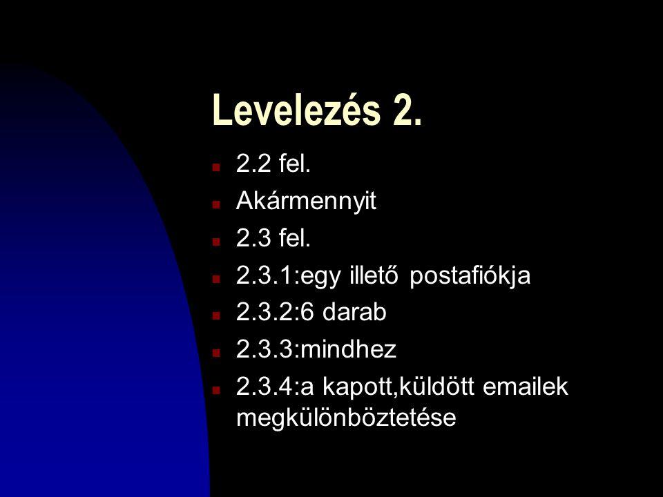 Levelezés 2.n 2.2 fel. n Akármennyit n 2.3 fel.