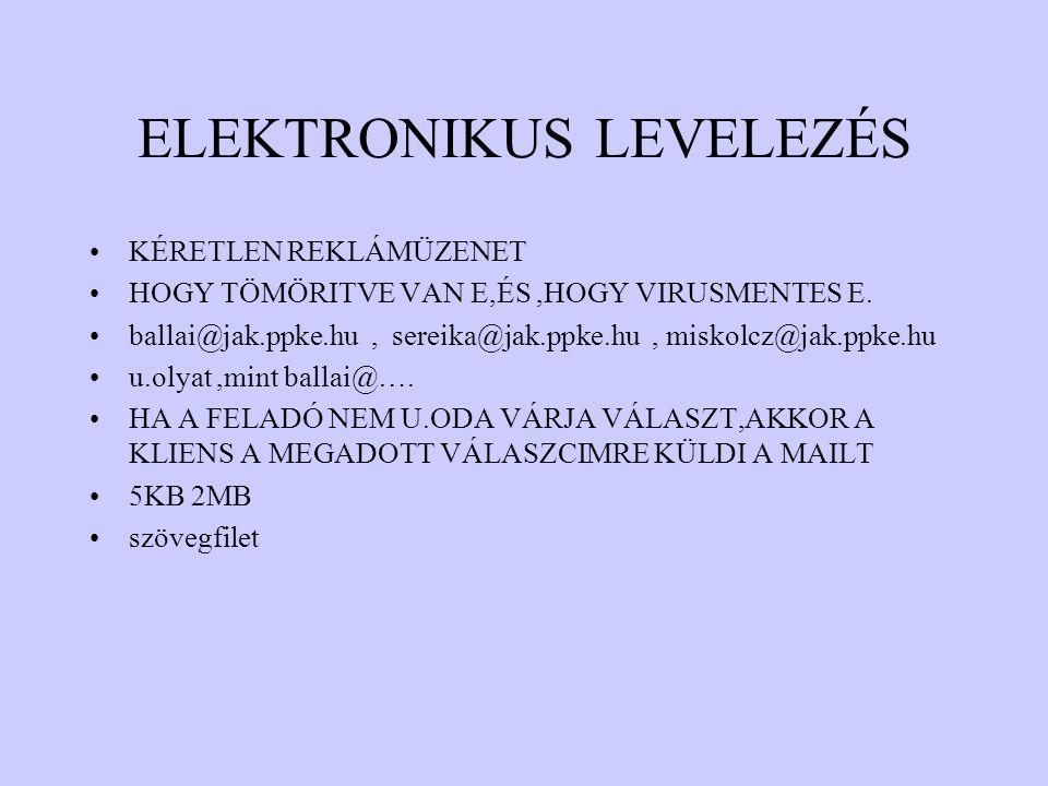 ELEKTRONIKUS LEVELEZÉS KÉRETLEN REKLÁMÜZENET HOGY TÖMÖRITVE VAN E,ÉS,HOGY VIRUSMENTES E. ballai@jak.ppke.hu, sereika@jak.ppke.hu, miskolcz@jak.ppke.hu