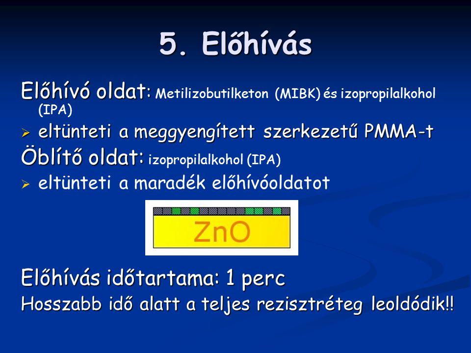 5. Előhívás Előhívó oldat : Előhívó oldat : Metilizobutilketon (MIBK) és izopropilalkohol (IPA)  eltünteti a meggyengített szerkezetű PMMA-t Öblítő o