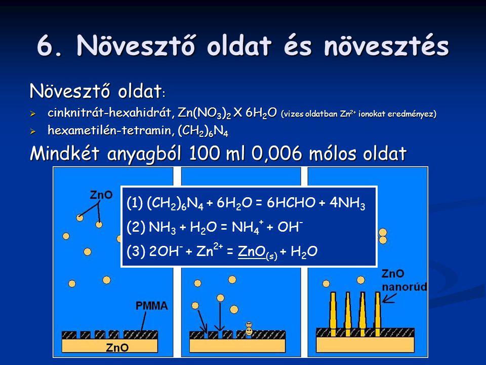 6. Növesztő oldat és növesztés Növesztő oldat :  cinknitrát-hexahidrát, Zn(NO 3 ) 2 X 6H 2 O (vizes oldatban Zn 2+ ionokat eredményez)  hexametilén-