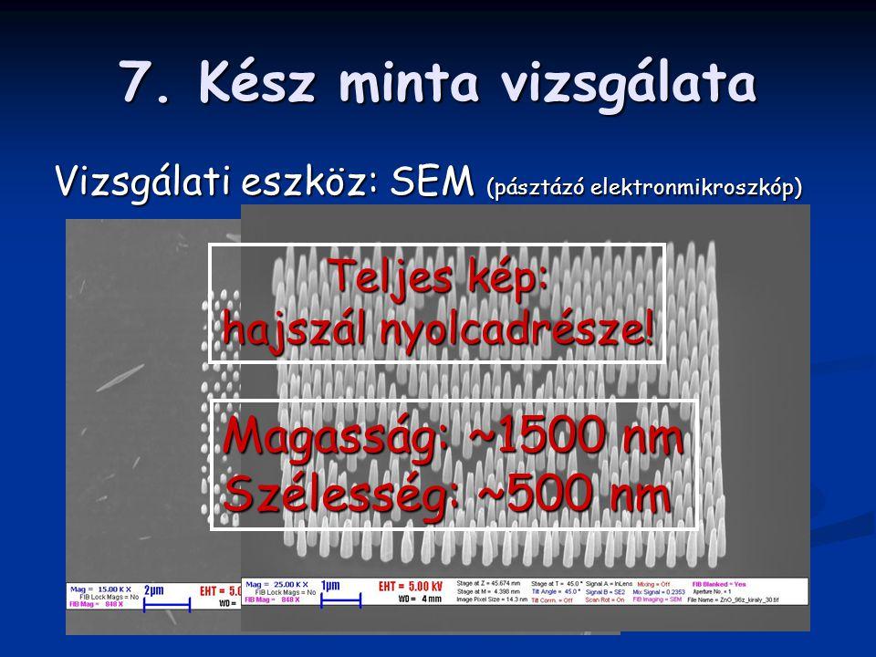 7. Kész minta vizsgálata Vizsgálati eszköz: SEM (pásztázó elektronmikroszkóp) Teljes kép: hajszál nyolcadrésze! Magasság: ~1500 nm Szélesség: ~500 nm