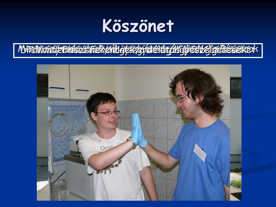 Köszönet Mentoraimnak: dr. Deák Andrásnak és dr. Volk Jánosnak Dr.