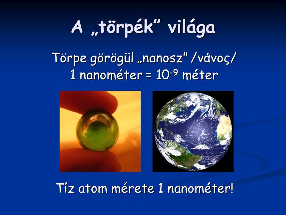 """A """"törpék világa Törpe görögül """"nanosz /νάνος/ 1 nanométer = 10 -9 méter Tíz atom mérete 1 nanométer!"""