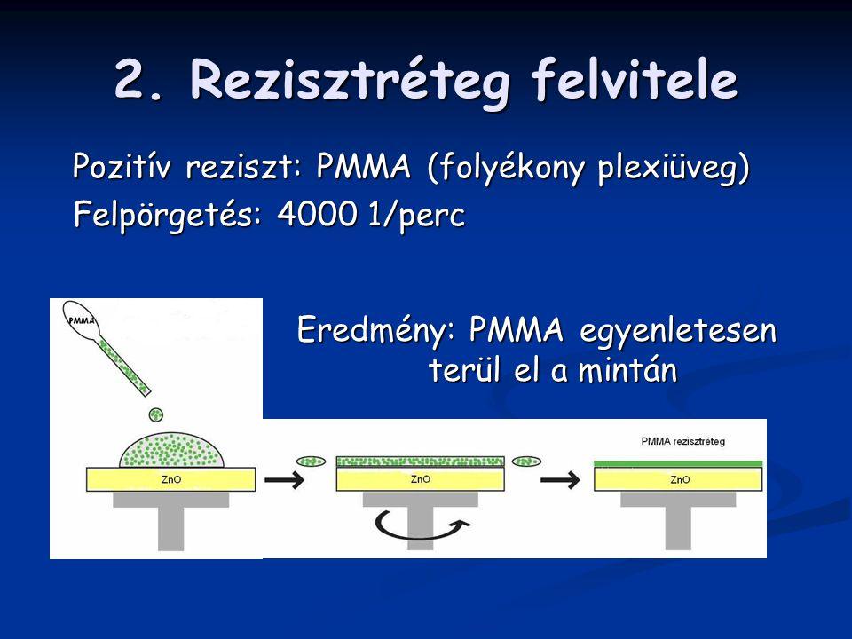 2. Rezisztréteg felvitele Eredmény: PMMA egyenletesen terül el a mintán Pozitív reziszt: PMMA (folyékony plexiüveg) Felpörgetés: 4000 1/perc