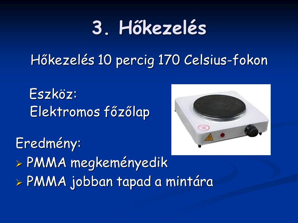 3. Hőkezelés Hőkezelés 10 percig 170 Celsius-fokon Eszköz: Elektromos főzőlap Elektromos főzőlap Eredmény:  PMMA megkeményedik  PMMA jobban tapad a