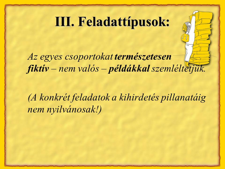 III.Feladattípusok 1.