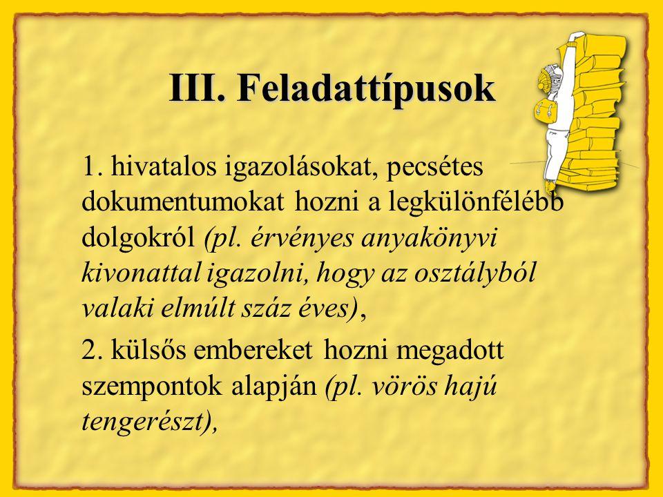 III. Feladattípusok 1.