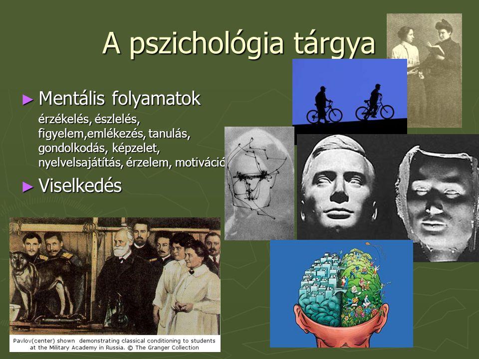 A pszichológia tárgya ► Mentális folyamatok érzékelés, észlelés, figyelem,emlékezés, tanulás, gondolkodás, képzelet, nyelvelsajátítás, érzelem, motivá