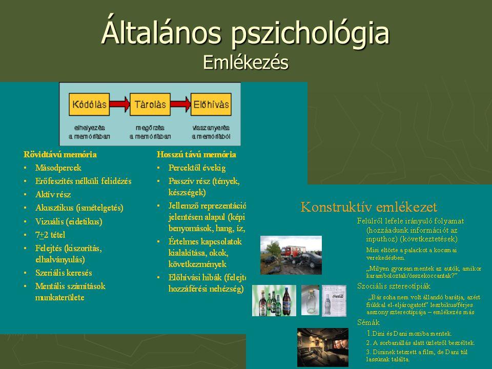 Általános pszichológia Emlékezés