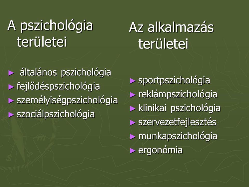 A pszichológia területei ► általános pszichológia ► fejlődéspszichológia ► személyiségpszichológia ► szociálpszichológia Az alkalmazás területei ► spo