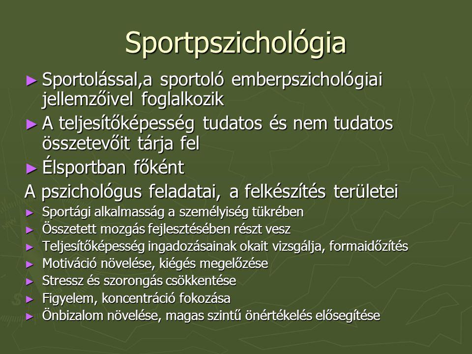 Sportpszichológia ► Sportolással,a sportoló emberpszichológiai jellemzőivel foglalkozik ► A teljesítőképesség tudatos és nem tudatos összetevőit tárja