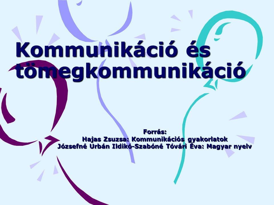 Kommunikáció és tömegkommunikáció Forrás: Hajas Zsuzsa: Kommunikációs gyakorlatok Józsefné Urbán Ildikó-Szabóné Tóvári Éva: Magyar nyelv