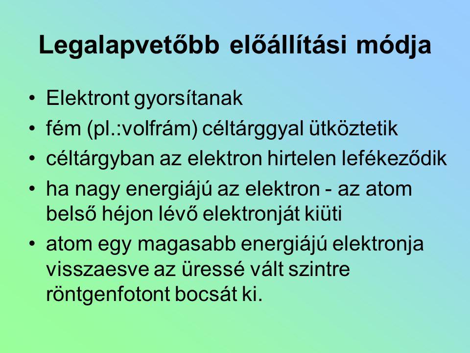 Legalapvetőbb előállítási módja Elektront gyorsítanak fém (pl.:volfrám) céltárggyal ütköztetik céltárgyban az elektron hirtelen lefékeződik ha nagy en