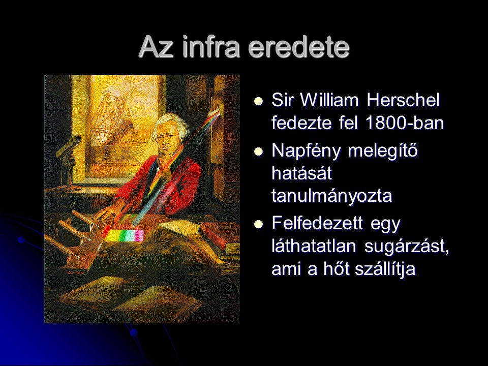Az infra eredete Sir William Herschel fedezte fel 1800-ban Sir William Herschel fedezte fel 1800-ban Napfény melegítő hatását tanulmányozta Napfény me