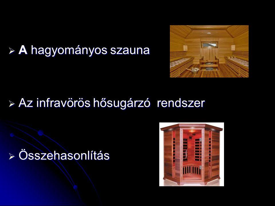  A hagyományos szauna  Az infravörös hősugárzó rendszer  Összehasonlítás