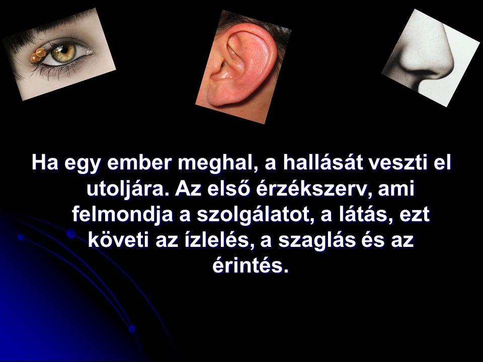Ha egy ember meghal, a hallását veszti el utoljára. Az első érzékszerv, ami felmondja a szolgálatot, a látás, ezt követi az ízlelés, a szaglás és az é