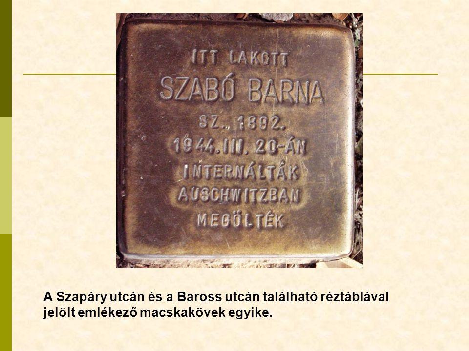 A Szapáry utcán és a Baross utcán található réztáblával jelölt emlékező macskakövek egyike.