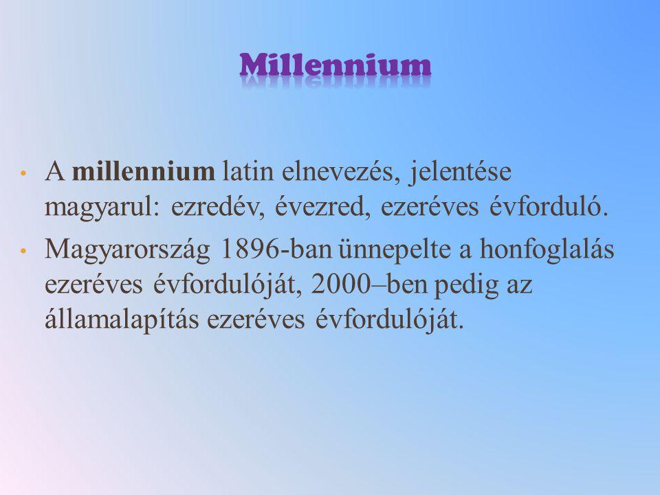 A millennium latin elnevezés, jelentése magyarul: ezredév, évezred, ezeréves évforduló. Magyarország 1896-ban ünnepelte a honfoglalás ezeréves évfordu