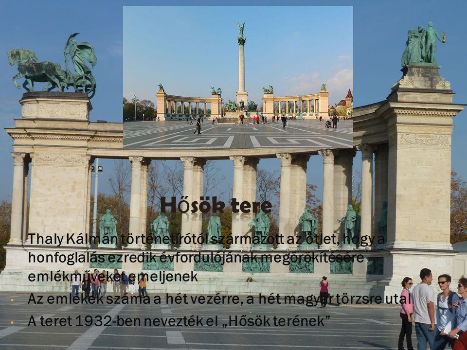 A hatalmas terület három fő eleme az 1896- ban épült Műcsarnok, az 1906 decemberében átadott Szépművészeti Múzeum és a kettőt vizuálisan összekötő Millenniumi emlékmű, melynek 36 m magas középső oszlopán Gábriel arkangyal a Szent Koronát és az apostoli kettős keresztet tartja.
