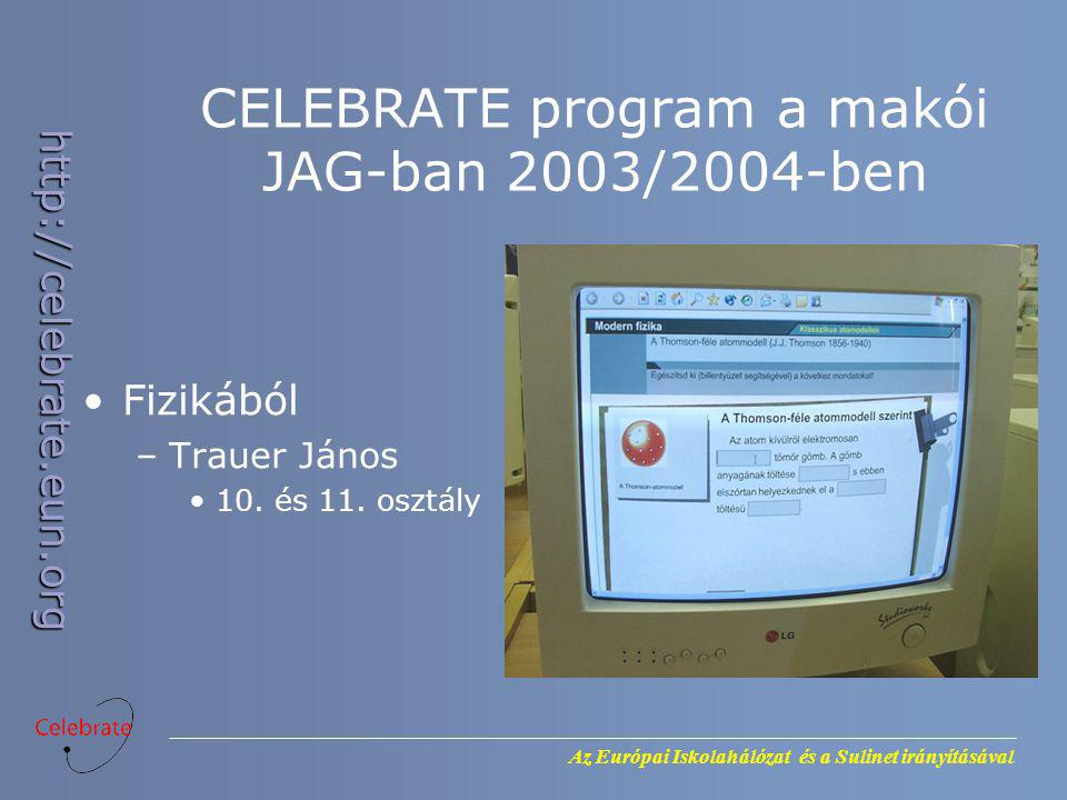 Az Európai Iskolahálózat és a Sulinet irányításával http://celebrate.eun.org CELEBRATE program a makói JAG-ban 2003/2004-ben Fizikából –Trauer János 1