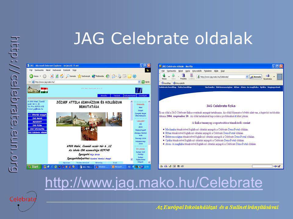 Az Európai Iskolahálózat és a Sulinet irányításával http://celebrate.eun.org JAG Celebrate oldalak http://www.jag.mako.hu/Celebrate