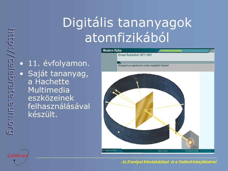 Az Európai Iskolahálózat és a Sulinet irányításával http://celebrate.eun.org Digitális tananyagok atomfizikából 11. évfolyamon. Saját tananyag, a Hach