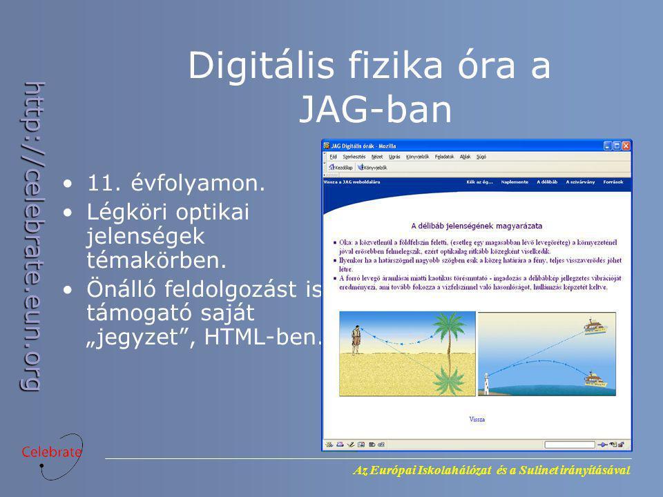 Az Európai Iskolahálózat és a Sulinet irányításával http://celebrate.eun.org Digitális fizika óra a JAG-ban 11. évfolyamon. Légköri optikai jelenségek