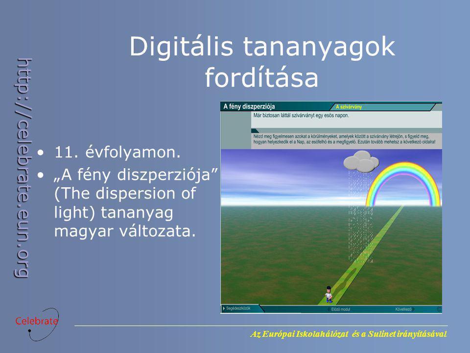 """Az Európai Iskolahálózat és a Sulinet irányításával http://celebrate.eun.org Digitális tananyagok fordítása 11. évfolyamon. """"A fény diszperziója"""" (The"""