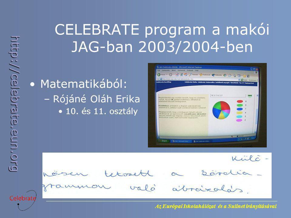 Az Európai Iskolahálózat és a Sulinet irányításával http://celebrate.eun.org CELEBRATE program a makói JAG-ban 2003/2004-ben Matematikából: –Rójáné Ol