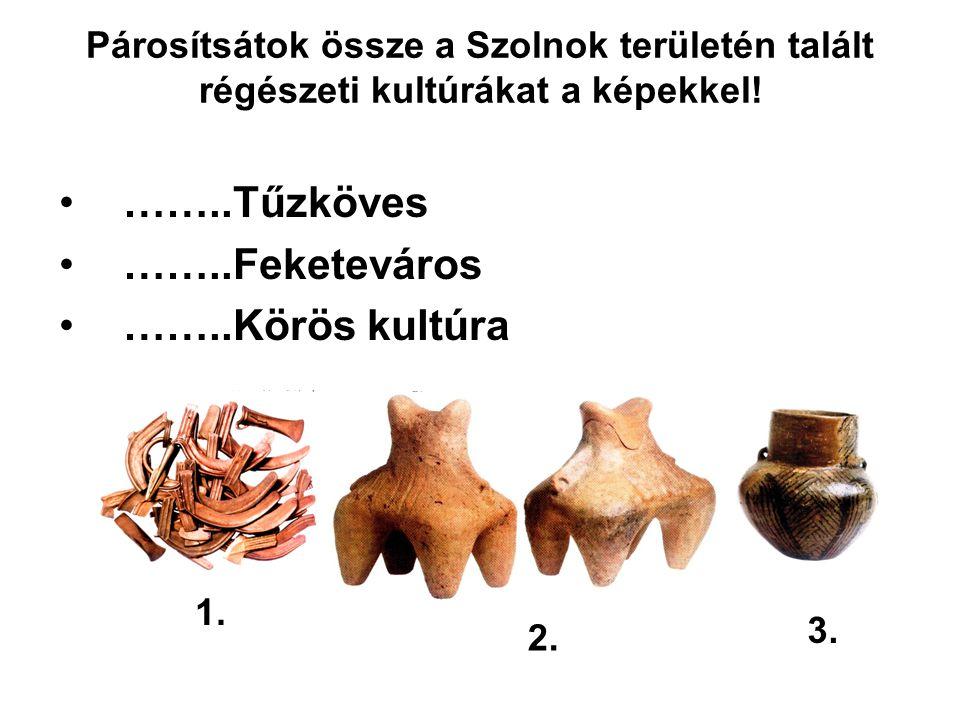 Párosítsátok össze a Szolnok területén talált régészeti kultúrákat a képekkel.