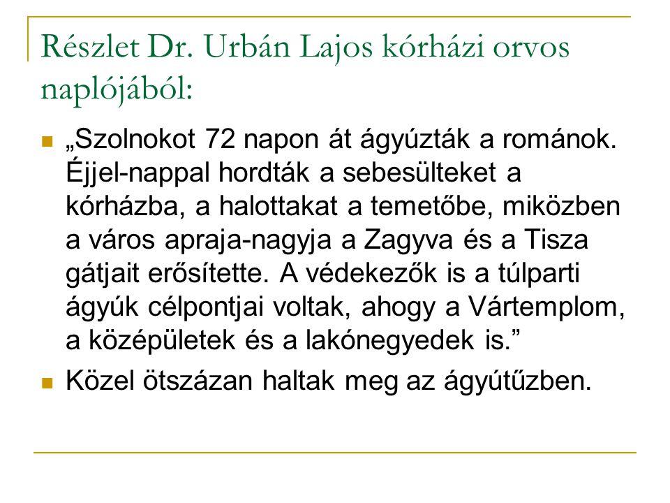 """Részlet Dr. Urbán Lajos kórházi orvos naplójából: """"Szolnokot 72 napon át ágyúzták a románok. Éjjel-nappal hordták a sebesülteket a kórházba, a halotta"""