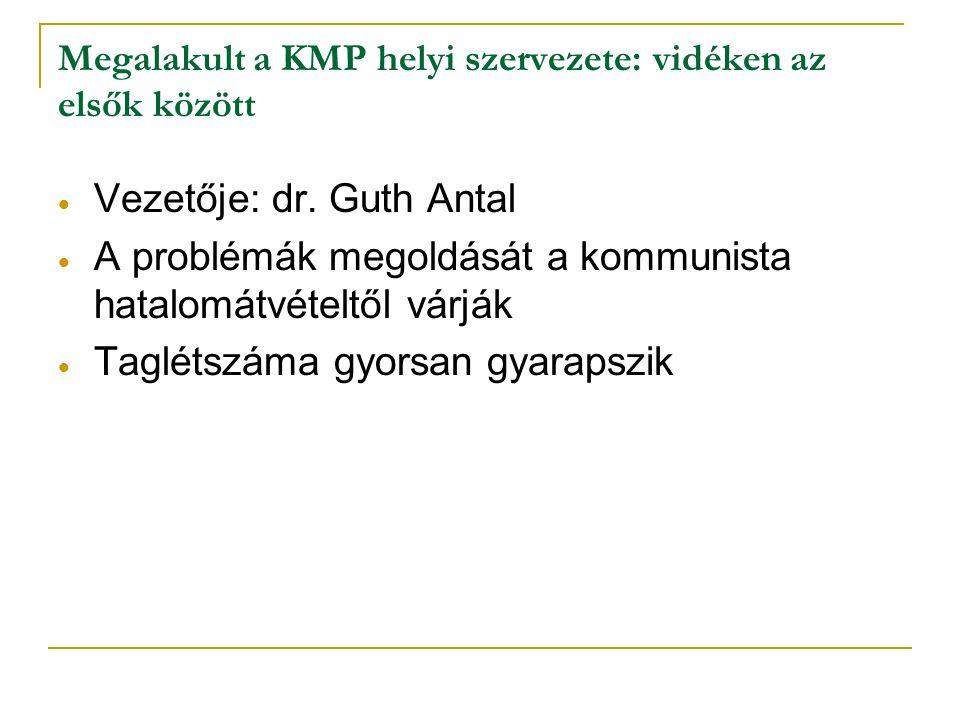 Megalakult a KMP helyi szervezete: vidéken az elsők között  Vezetője: dr. Guth Antal  A problémák megoldását a kommunista hatalomátvételtől várják 
