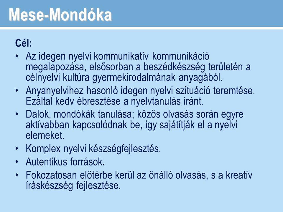 Mese-Mondóka Cél: Az idegen nyelvi kommunikatív kommunikáció megalapozása, elsősorban a beszédkészség területén a célnyelvi kultúra gyermekirodalmának