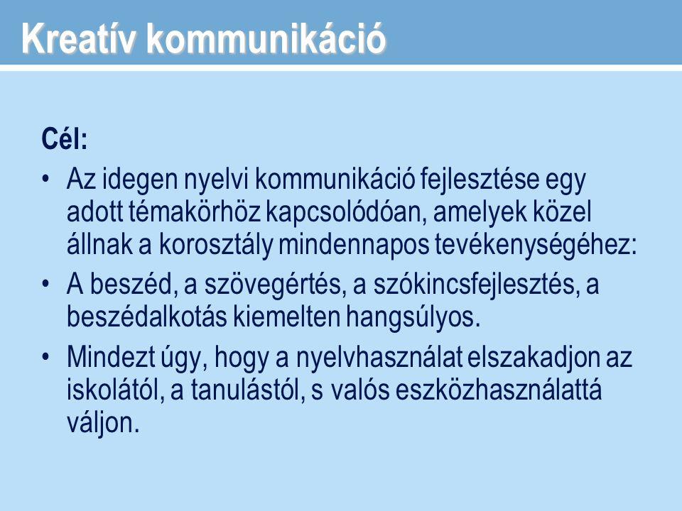 Kreatív kommunikáció Cél: Az idegen nyelvi kommunikáció fejlesztése egy adott témakörhöz kapcsolódóan, amelyek közel állnak a korosztály mindennapos t