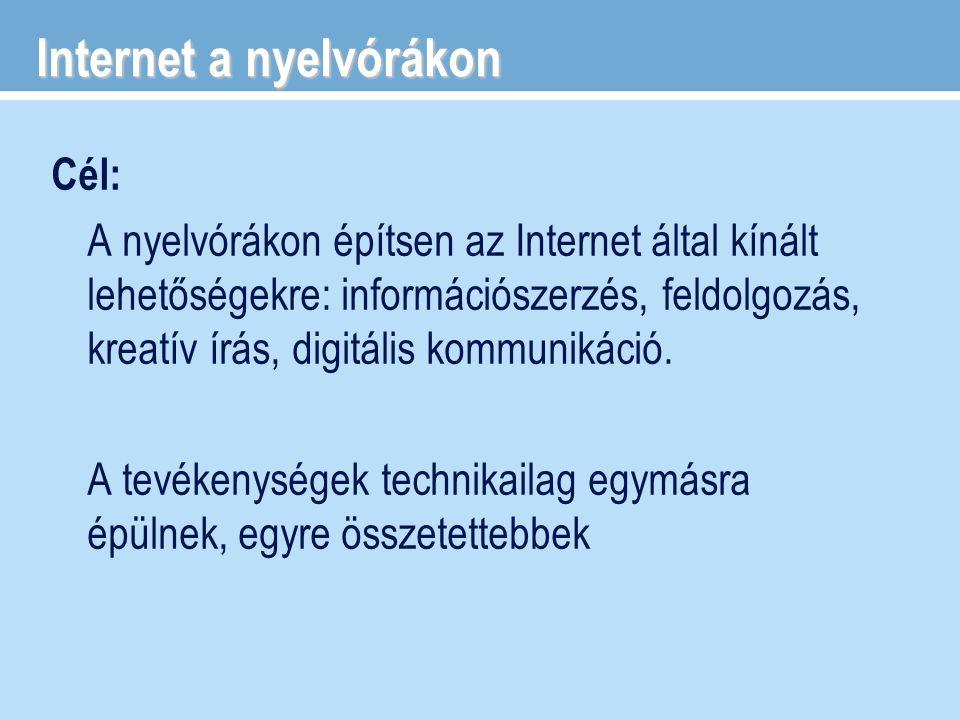 Internet a nyelvórákon Cél: A nyelvórákon építsen az Internet által kínált lehetőségekre: információszerzés, feldolgozás, kreatív írás, digitális komm