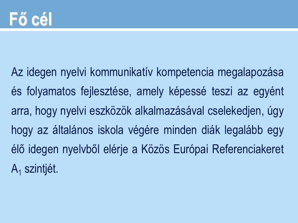 Az idegen nyelvi kommunikatív kompetencia megalapozása és folyamatos fejlesztése, amely képessé teszi az egyént arra, hogy nyelvi eszközök alkalmazásá