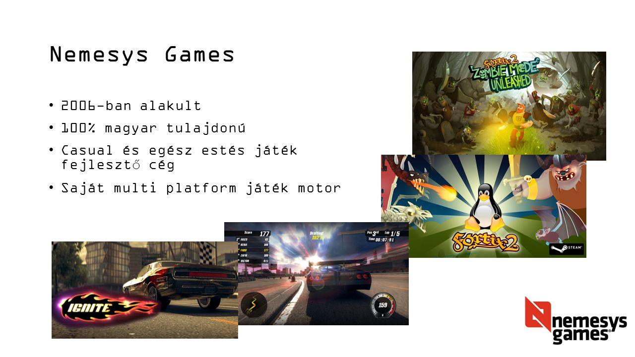 Nemesys Games 2006-ban alakult 100% magyar tulajdonú Casual és egész estés játék fejlesztő cég Saját multi platform játék motor