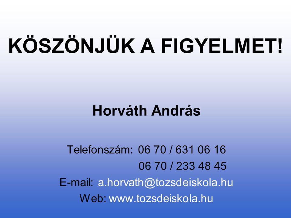 KÖSZÖNJÜK A FIGYELMET! Horváth András Telefonszám: 06 70 / 631 06 16 06 70 / 233 48 45 E-mail: a.horvath@tozsdeiskola.hu Web: www.tozsdeiskola.hu