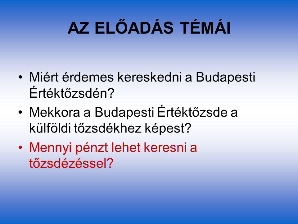 AZ ELŐADÁS TÉMÁI Miért érdemes kereskedni a Budapesti Értéktőzsdén? Mekkora a Budapesti Értéktőzsde a külföldi tőzsdékhez képest? Mennyi pénzt lehet k