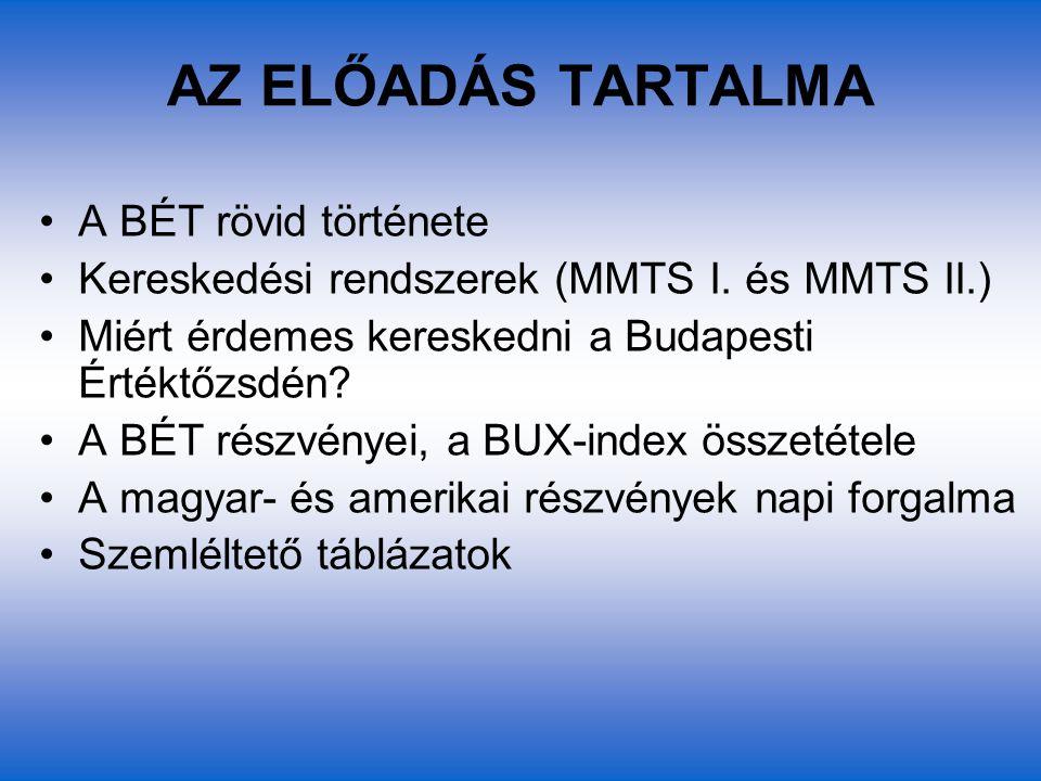 AZ ELŐADÁS TARTALMA A BÉT rövid története Kereskedési rendszerek (MMTS I. és MMTS II.) Miért érdemes kereskedni a Budapesti Értéktőzsdén? A BÉT részvé