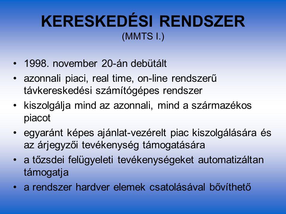 KERESKEDÉSI RENDSZER (MMTS I.) 1998. november 20-án debütált azonnali piaci, real time, on-line rendszerű távkereskedési számítógépes rendszer kiszolg