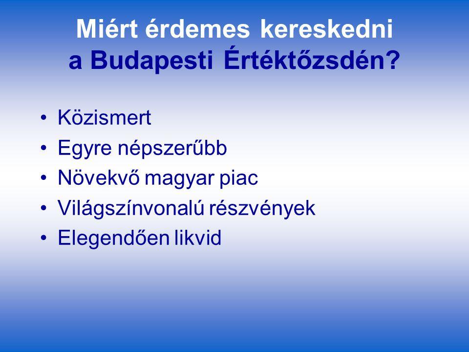 Miért érdemes kereskedni a Budapesti Értéktőzsdén? Közismert Egyre népszerűbb Növekvő magyar piac Világszínvonalú részvények Elegendően likvid