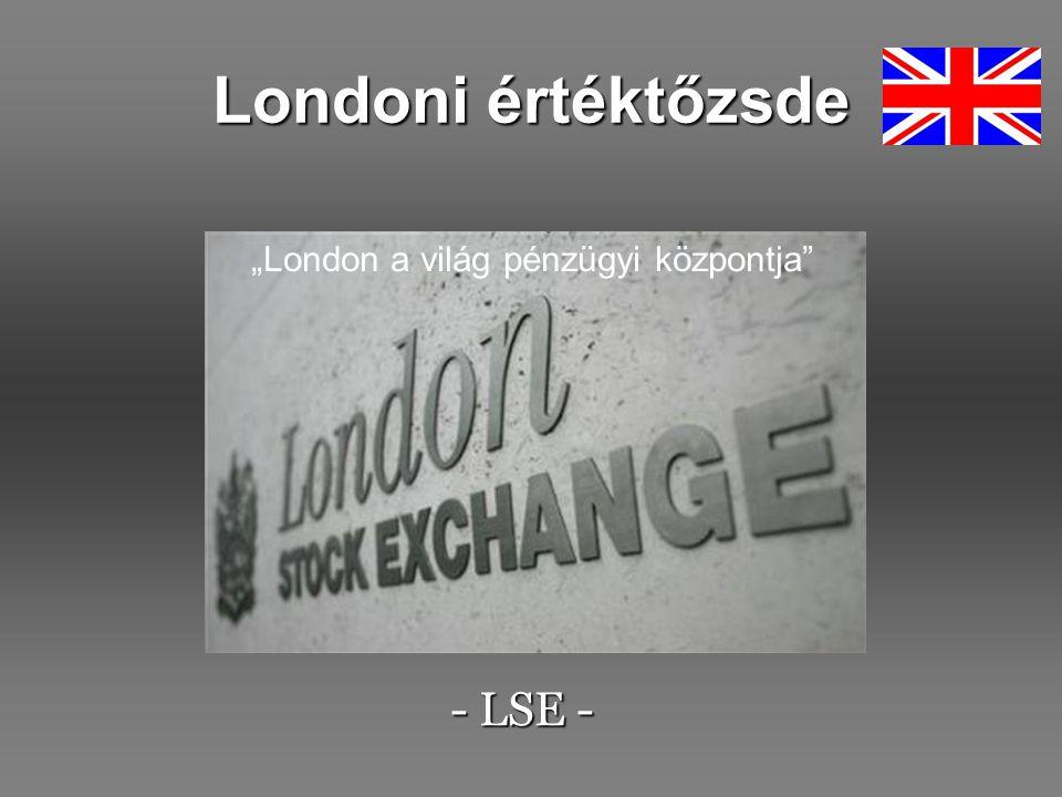 A londoni tőzsde előnyei A leginkább nemzetközi jellegű tőzsde a világon: 50 ország vállalataival kereskednek az LSE-n Az intézményi befektetők száma magas (több mint 300) Az egyik legvonzóbb és leglikvidebb piac a világon A leghatékonyabb származékos piac (EDX London) Több mint 800-féle származékos termék a világ szinte minden pontjáról Több, mint 2800 részvény Európa leghíresebb piaca, 3500 milliárd GBP piaci kapitalizációval