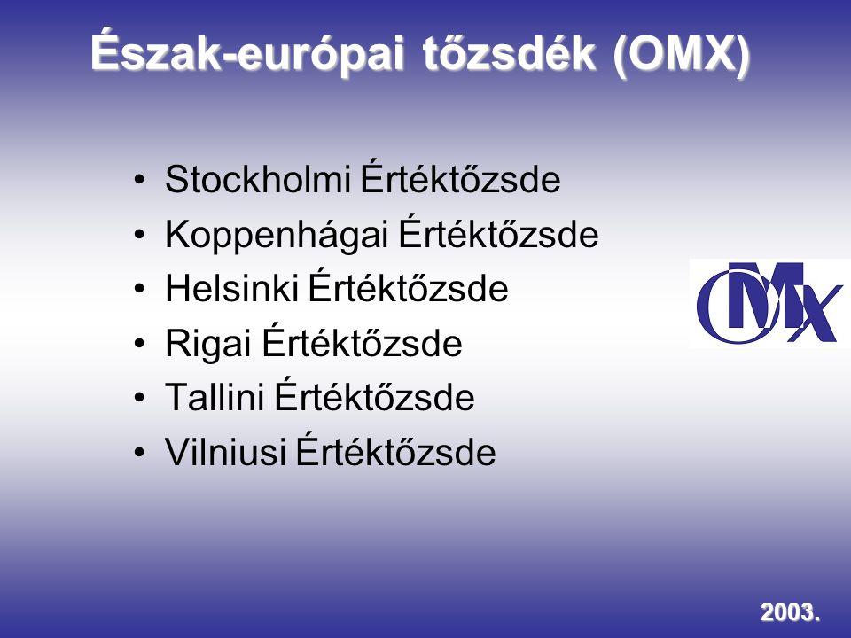 Észak-európai tőzsdék (OMX) Stockholmi Értéktőzsde Koppenhágai Értéktőzsde Helsinki Értéktőzsde Rigai Értéktőzsde Tallini Értéktőzsde Vilniusi Értéktő