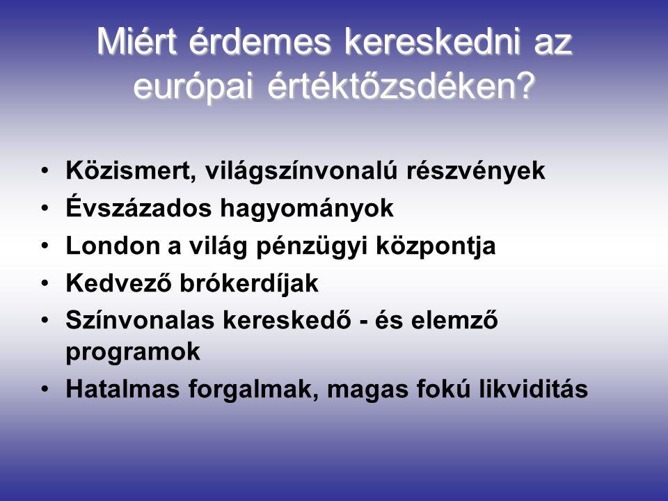Miért érdemes kereskedni az európai értéktőzsdéken? Közismert, világszínvonalú részvények Évszázados hagyományok London a világ pénzügyi központja Ked
