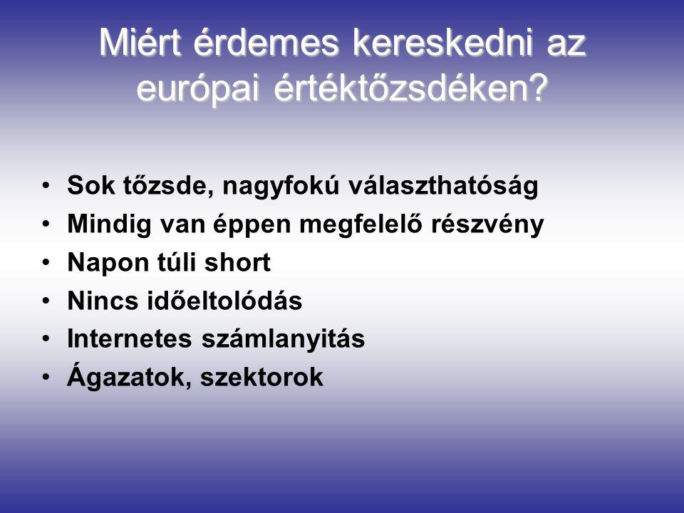 Miért érdemes kereskedni az európai értéktőzsdéken? Sok tőzsde, nagyfokú választhatóság Mindig van éppen megfelelő részvény Napon túli short Nincs idő