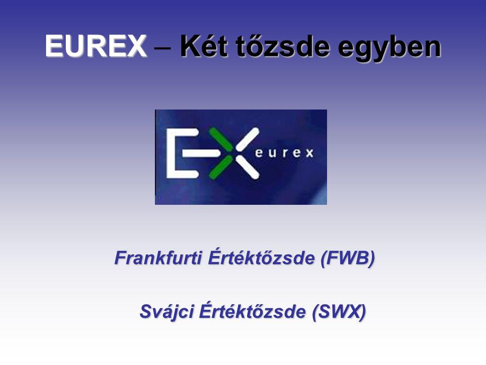 EUREX előnyök A világ legnagyobb határidő és opció tőzsdéje Széles termékválaszték, több tőzsde termékei egy helyen, egy kereskedési rendszerben (SWX, FWB) Amerikai termékek is közvetlenül kereskedhetők Nagyon dinamikus fejlődés a forgalomban
