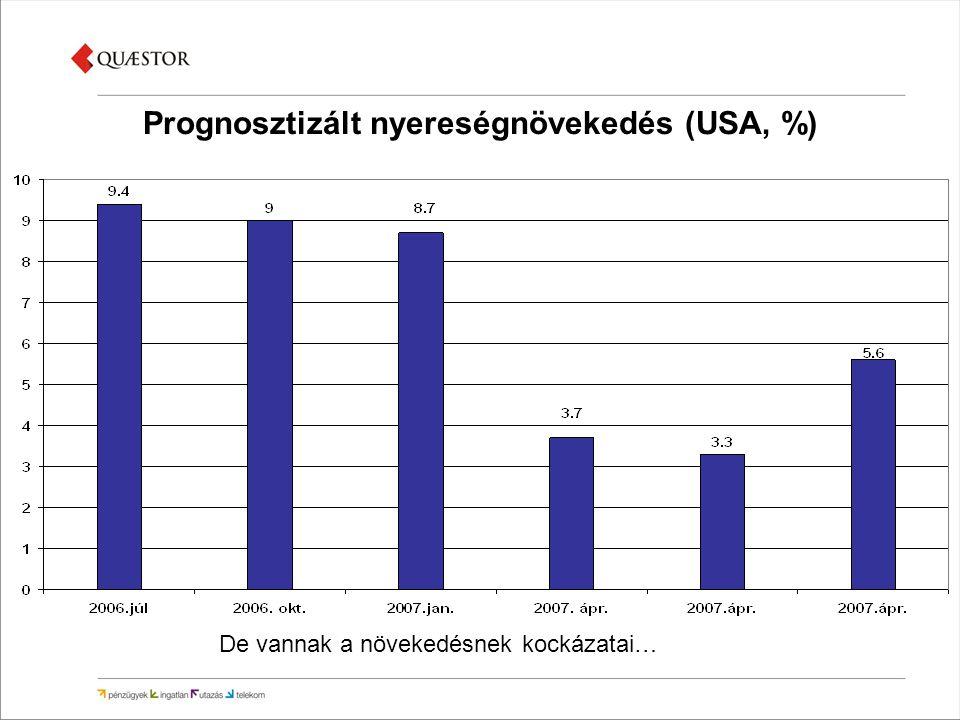 Prognosztizált nyereségnövekedés (USA, %) De vannak a növekedésnek kockázatai…